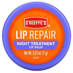 O'Keeffe's, 唇部修復,夜間護理,潤唇膏,0.25 盎司(7 克)