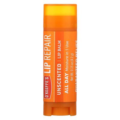 Купить O'Keeffe's Lip Repair, Lip Balm, Unscented, 0.15 oz (4.2 g)