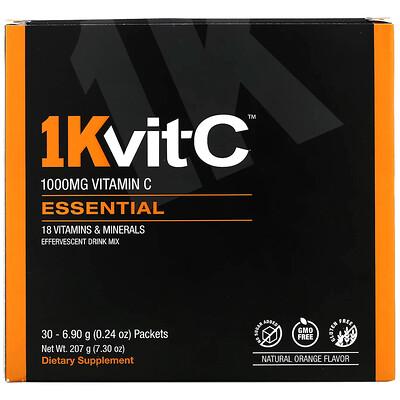 Купить 1Kvit-C ВитаминC, незаменимые питательные вещества, шипучая смесь для напитка, натуральный апельсиновый вкус, 1000мг, 30пакетиков по 6, 9г (0, 24унции)