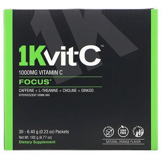 1Kvit-C, Vitamin C, Focus, Effervescent Drink Mix, Natural Orange Flavor, 1,000 mg, 30 packets. 0.23 oz (6.40 g) Each
