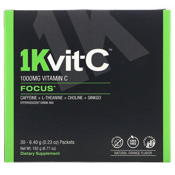 1Kvit-C, Vitamin C, Focus, Effervescent Drink Mix, Natural Orange Flavor, 1,000 mg, 30 packets. 0.23 oz (6.40 g) Each