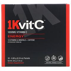 1Kvit-C, Vitamin C, Energy, Effervescent Drink Mix, Natural Orange Flavor, 1,000 mg, 30 packets. 0.24 oz (6.80 g) Each