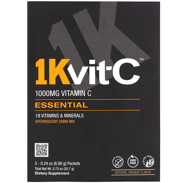1Kvit-C, Vitamin C, Essential, Effervescent Drink Mix, Natural Orange Flavor, 1,000 mg , 3 Packets, 0.24 oz (6.90 g) Each