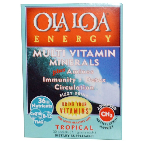 Ola Loa, Energy, Multi Vitamin Minerals, Tropical, 30 Packets, (7.1 g) Each