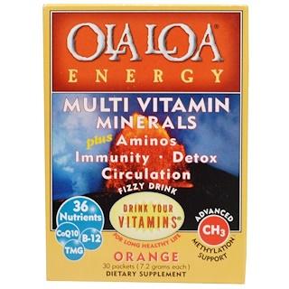 Ola Loa, エナジー、 マルチビタミン、 オレンジ、 30包、 各(7.2 g)