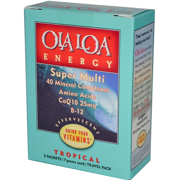 Ola Loa, Energy, Super Multi, Tropical, Travel Pack, 5 Packets, (7 g) Each (Discontinued Item)