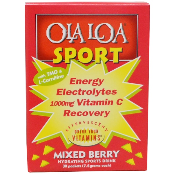 Ola Loa, Energy Electrolytes Vitamin C Recovery, Mixed Berry, 1000 mg, 30 Packets, (7.5 g) Each (Discontinued Item)