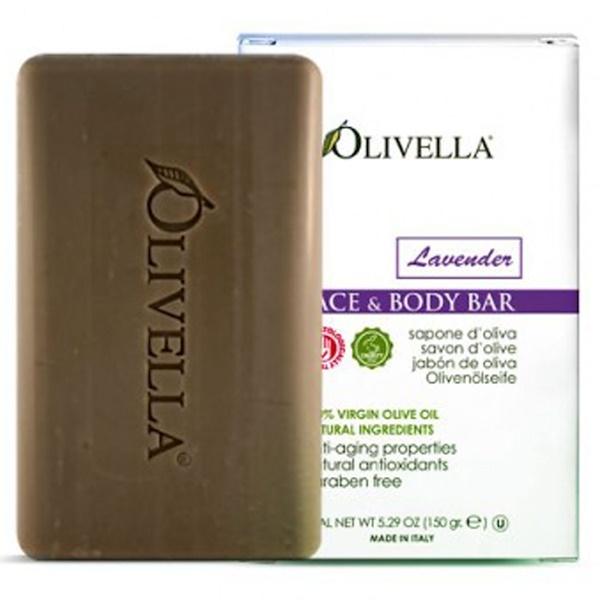 Olivella, Barra para el rostro y el cuerpo, lavanda, 5.29 oz (150 g) (Discontinued Item)
