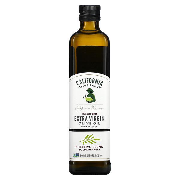 California Olive Ranch, 100% كاليفورني، زيت الزيتون البكر الممتاز، Miller's Blend، بوزن 16.9 أونصة سائلة (500 مل)