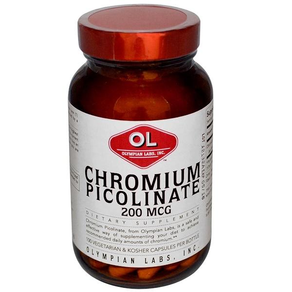 Olympian Labs Inc., Chromium Picolinate, 200 mcg, 100 Veggie Caps (Discontinued Item)