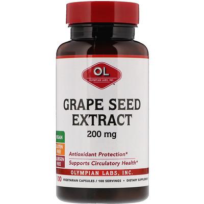 Экстракт виноградных косточек, 200 мг, 100 растительных капсул