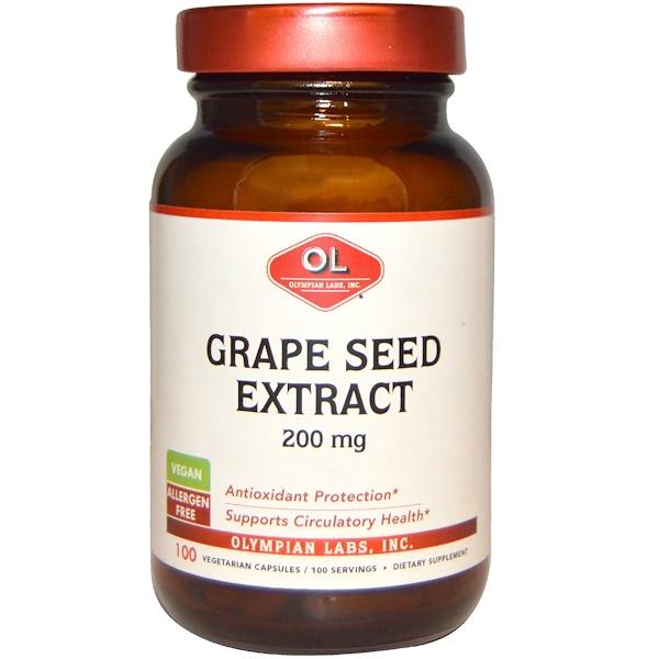 Olympian Labs Inc., ブドウの種エキス, 200 mg, 100ベジタリアンカプセル