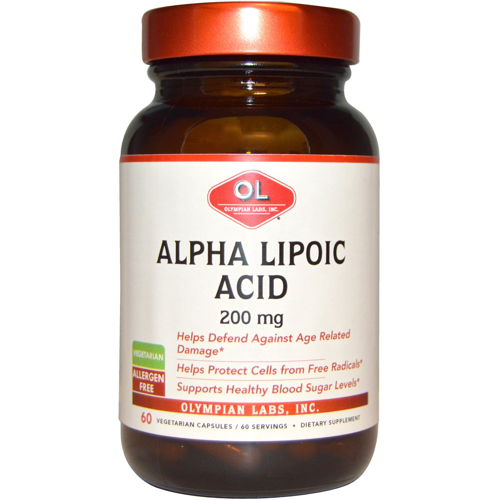 Olympian Labs Inc., Альфа-липоевая кислота, 200 мг, 60 вегетарианских капсул