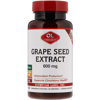 Olympian Labs Inc., Grape Seed Extract, Maximum Strength, 600 mg, 60 Vegetarian Capsules