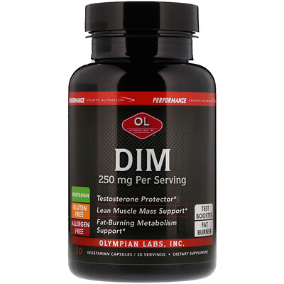 Olympian Labs Performance Sports Nutrition, DIM, 250 mg, 30 Vegetarian Capsules