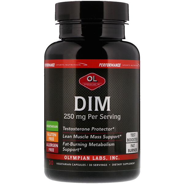 Olympian Labs Inc., Performance Sports Nutrition, DIM, 250 mg, 30 Vegetarian Capsules