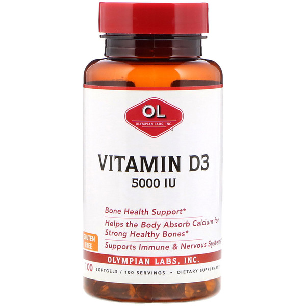 Vitamin D3, 5,000 IU, 100 Softgels