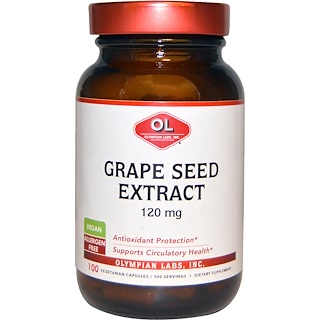 Olympian Labs Inc., Grape Seed Extract, 120 mg, 100 Vegetarian Capsules