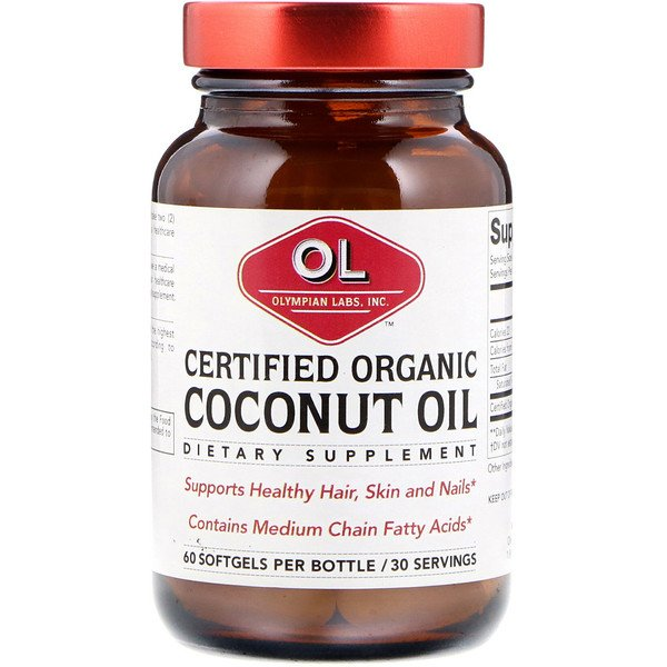 Olympian Labs, Certified Organic Coconut Oil, 60 Softgels