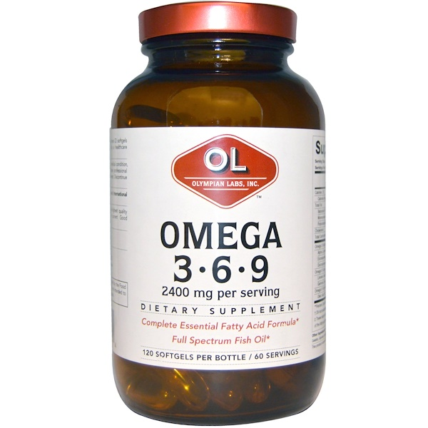 Olympian Labs Inc., Omega 3 • 6 • 9, 2400 mg, 120 Softgels (Discontinued Item)