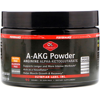 Olympian Labs Inc., A-AKG Powder, Arginine Alpha-Ketoglutarate, Unflavored, 90 g