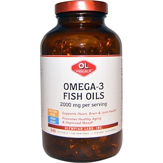 Olympian Labs Inc., Omega-3 Fish Oils, 2000 mg, 240 Softgels