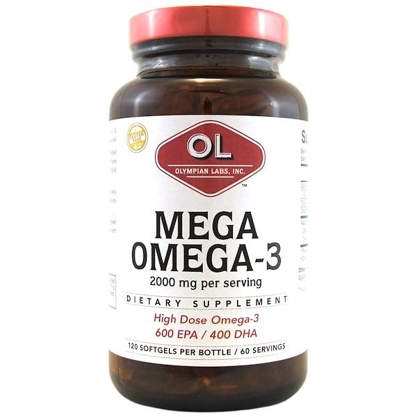 Olympian Labs, Mega Omega-3, 2000 mg, 120 Capsules (Discontinued Item)