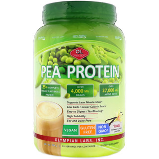 Olympian Labs Inc., Lean & Healthy Pea Protein, Vanilla, 1.66 lbs (756 g)