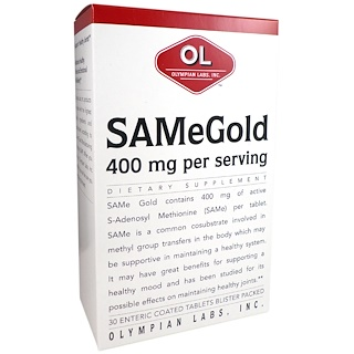 Olympian Labs Inc., SAMe Gold, 400 mg, 30 Enteric Coated Tablets