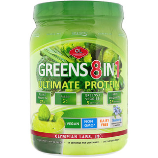 Olympian Labs Inc., Greens 8 in 1, Ultimate Protein, Blueberry Flavor, 1.36 lbs (619.22 g)