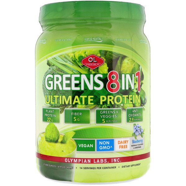 Olympian Labs Inc., Greens 8 in 1, Ultimate Protein, Blueberry Flavor, 21.848 oz (619.22 g)