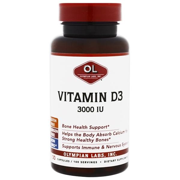Olympian Labs Inc., Vitamin D3, 3000 IU, 100 Capsules (Discontinued Item)