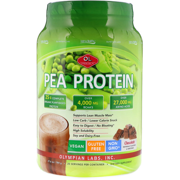 Olympian Labs Inc., Lean & Healthy Pea Protein, Chocolate, 1.7 lbs (784 g)