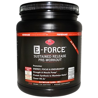 Olympian Labs Inc., Performance Sports Nutrition, E- Force Pre-Workout, Fruit Punch Flavor, 525 g