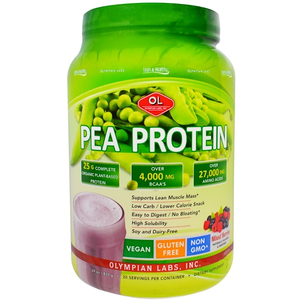 Olympian Labs, Pea Protein, Mixed Berries, 29 oz (820 g) (Discontinued Item)