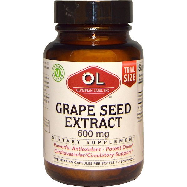 Olympian Labs Inc., Grape Seed Extract, 600 mg, 7 Vegetarian Capsules (Discontinued Item)