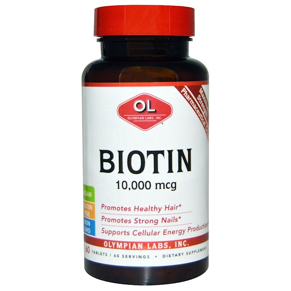 Olympian Labs Inc., Biotin, 10,000 mcg, 60 Tablets
