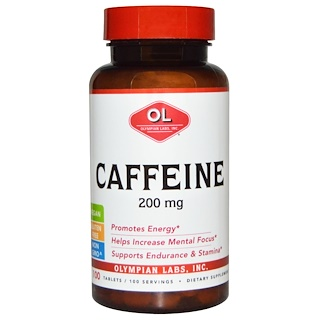 Olympian Labs Inc., Caffeine, 200 mg, 100 Tablets