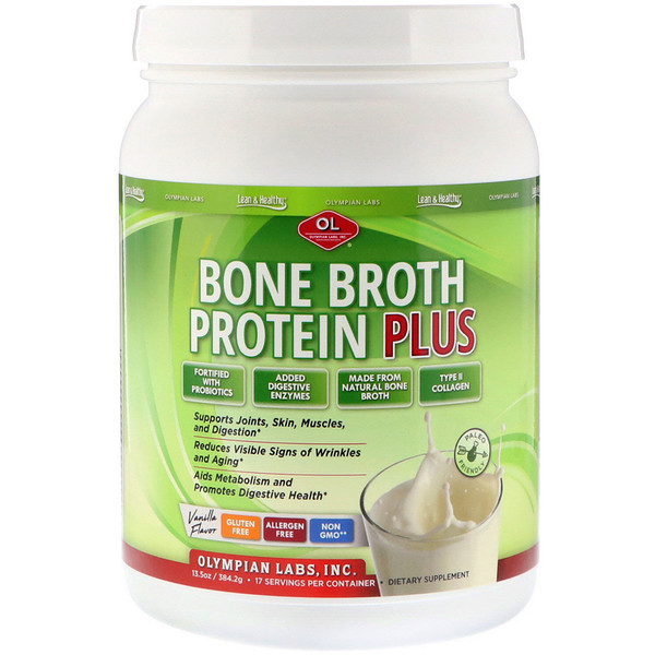 Olympian Labs, Bone Broth Protein Plus, Vanilla Flavor, 13.5 oz (384.2 g) (Discontinued Item)