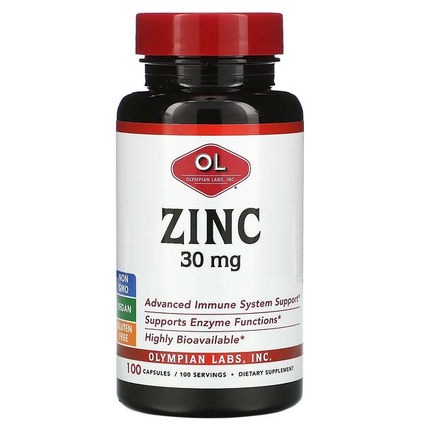 Zinc, 30 mg, 100 Capsules