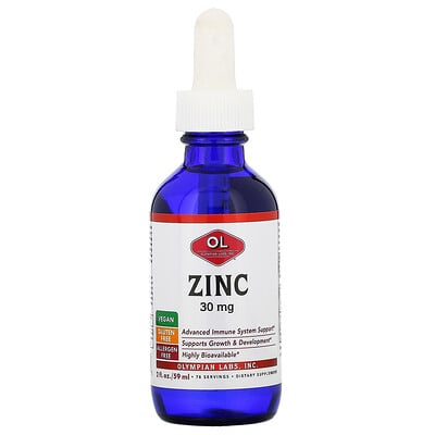 Купить Olympian Labs Zinc, 30 mg, 2 fl oz (59 ml)