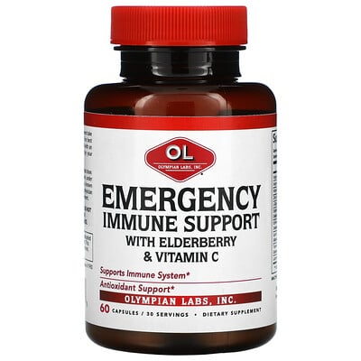 Olympian Labs Emergency Immune Support with Elderberry & Vitamin C, 60 capsules