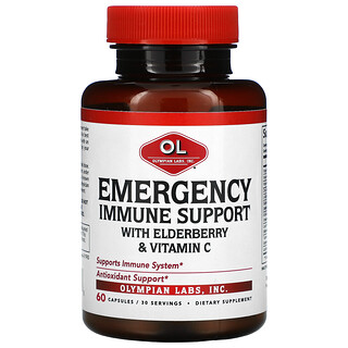 Olympian Labs, Emergency Immune Support with Elderberry & Vitamin C, 60 Capsules