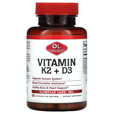 Olympian Labs Vitamin K2 + D3, 60 Capsules