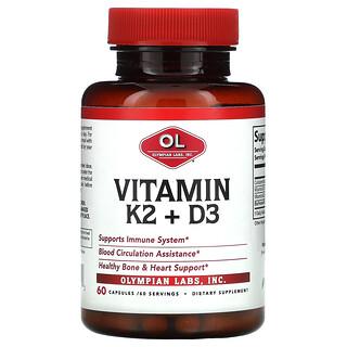 Olympian Labs, Vitamin K2 + D3, 60 Capsules