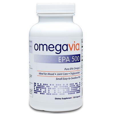 Купить OmegaVia ЭПК500, чистая ЭПК омега-3, 120капсул