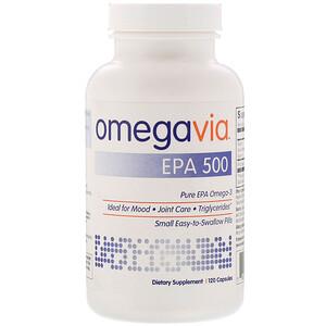 OmegaVia, EPA 500, Pure EPA Omega-3, 120 Capsules