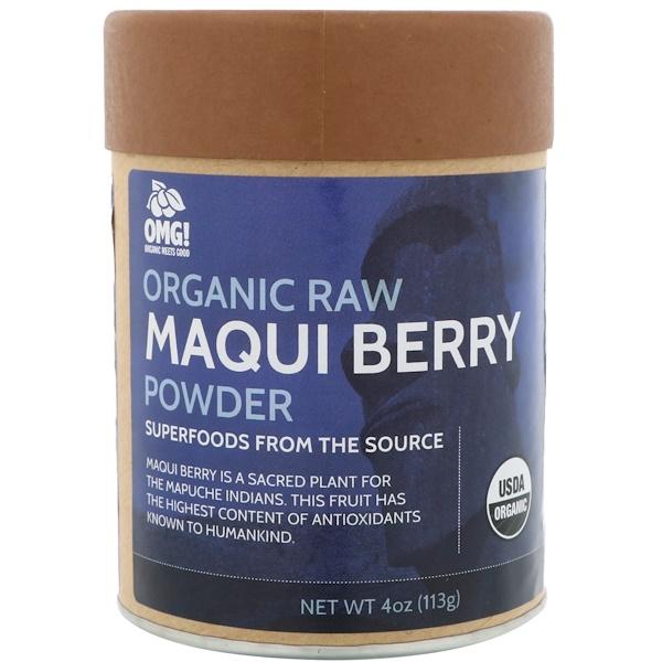OMG! Organic Meets Good, Orgánico, Polvo de baya maqui sin procesar, 4 oz (113 g) (Discontinued Item)