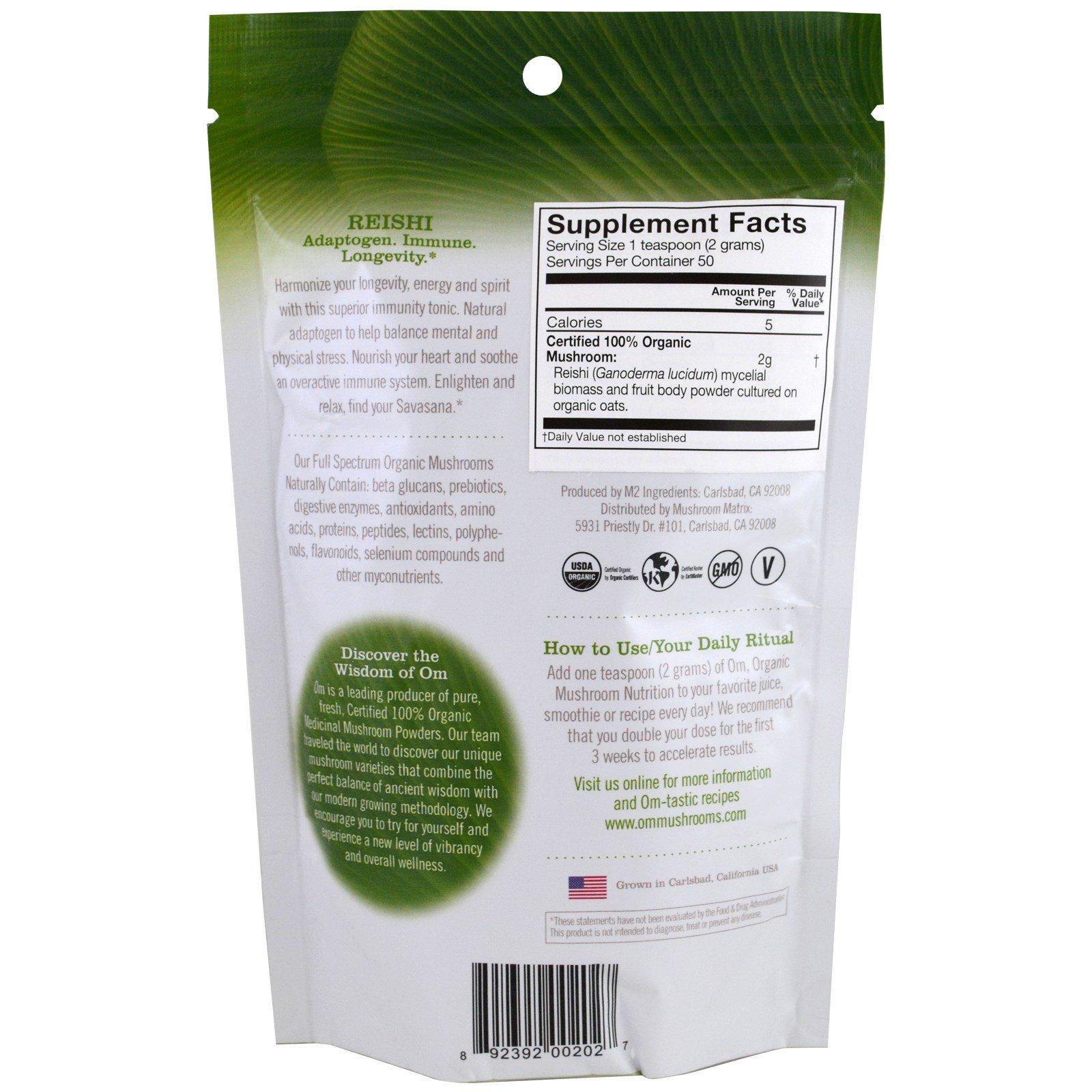 Organic Mushroom Nutrition, Reishi, Mushroom Powder, 3 57 oz