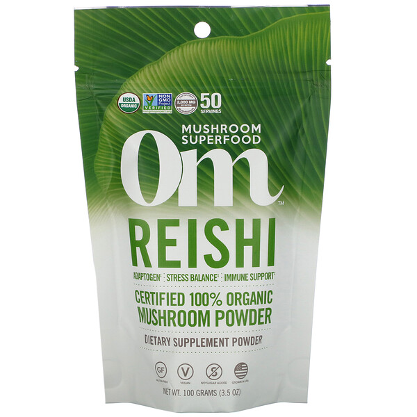 Om Mushrooms, Reishi, Certified 100% Organic Mushroom Powder, 3.5 oz (100 g)